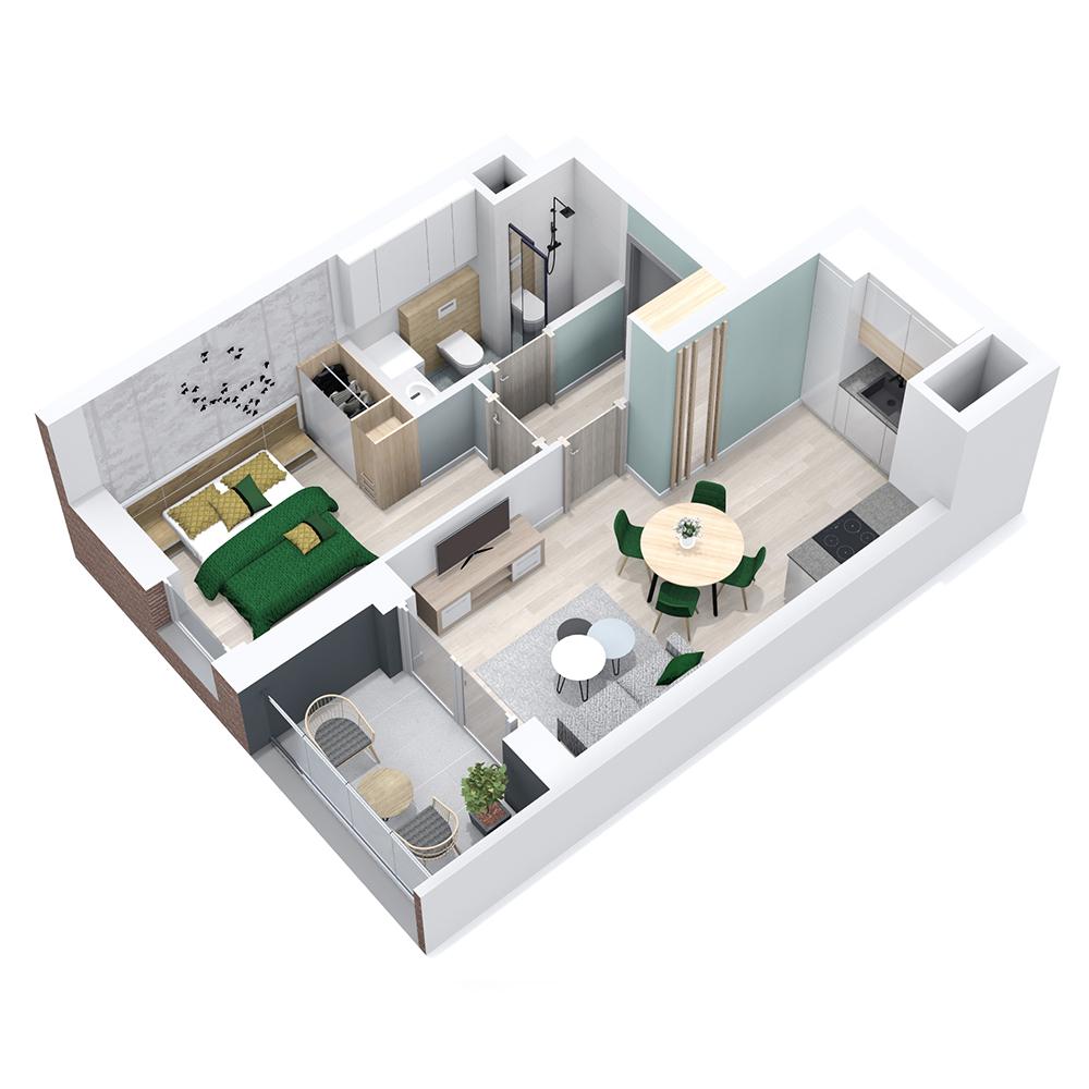 Mieszkanie 2-pokojowe PP-8B-69
