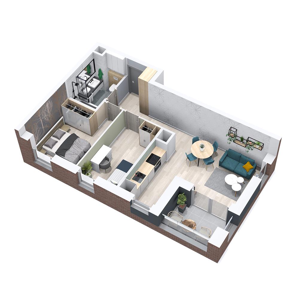 Mieszkanie 3-pokojowe PP-8B-16