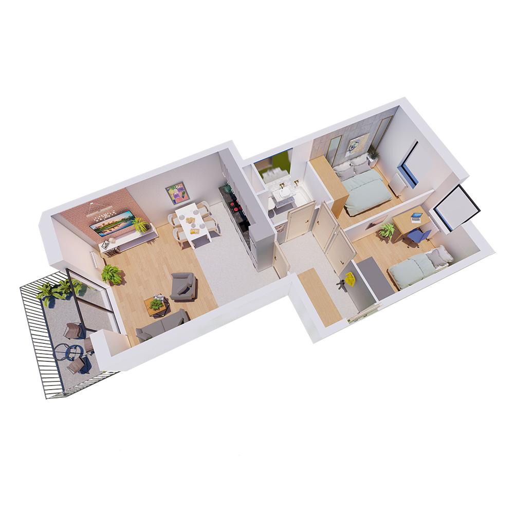 Mieszkanie 3-pokojowe R-A-33
