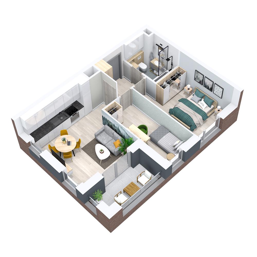 Mieszkanie 3-pokojowe PP-8B-71