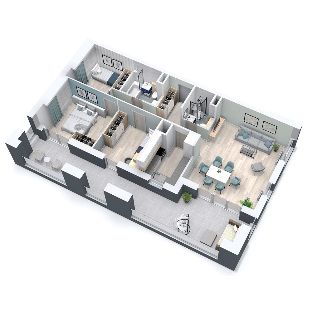 Mieszkanie 4-pokojowe PP-8C-27