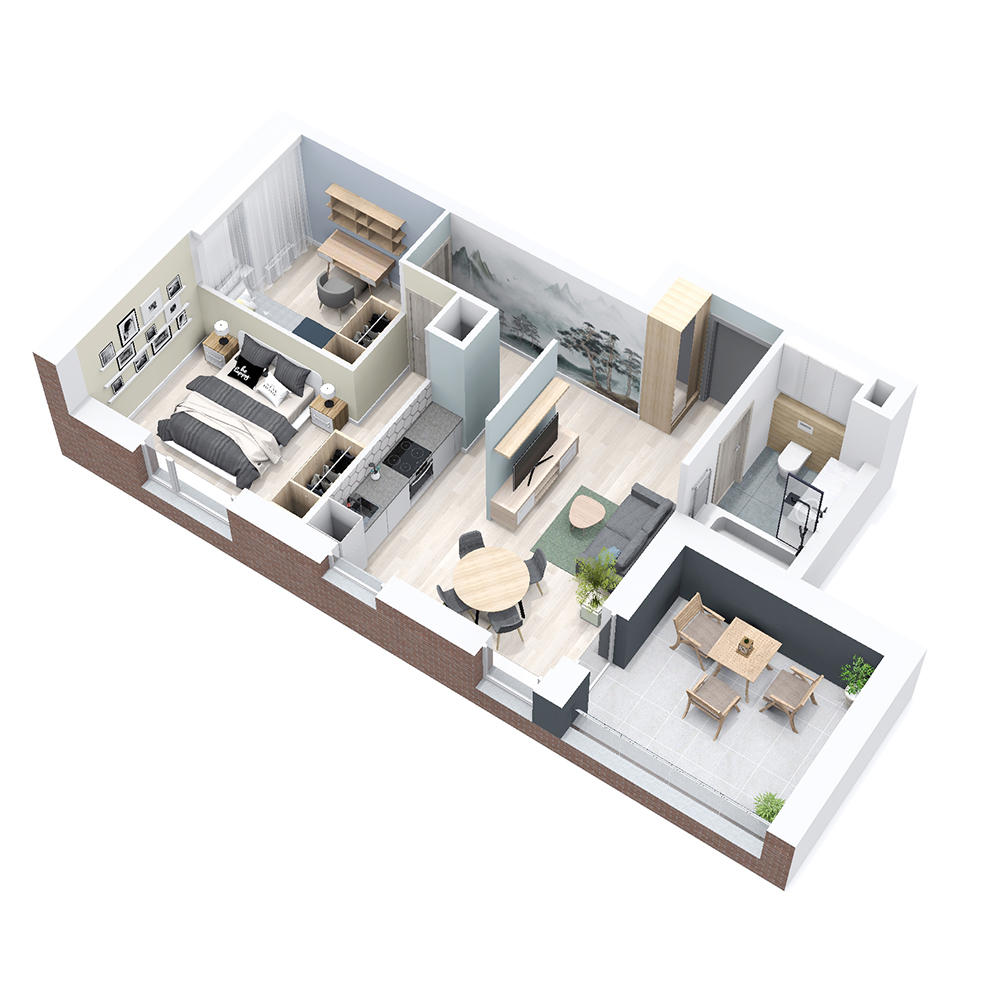 Mieszkanie 3-pokojowe PP-8B-55