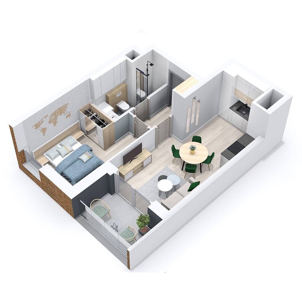 Mieszkanie 2-pokojowe PP-8B-64