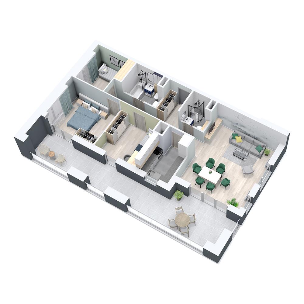 Mieszkanie 4-pokojowe PP-8C-12