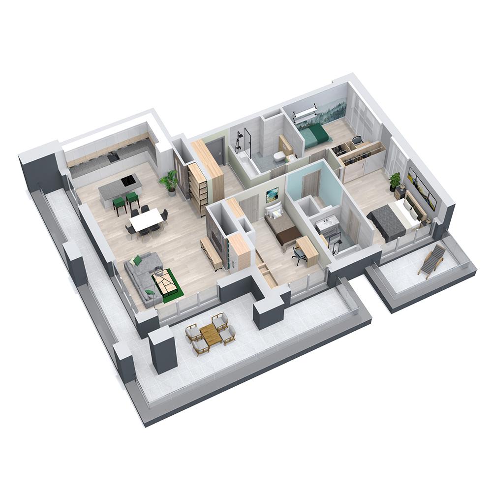 Mieszkanie 4-pokojowe PP-8D-64