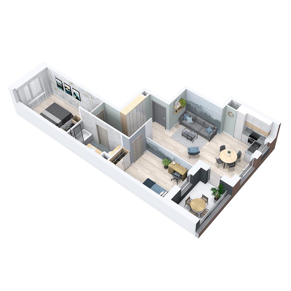 Mieszkanie 3-pokojowe PP-8C-93