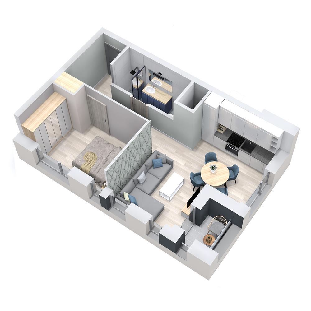Mieszkanie 2-pokojowe PP-8D-52