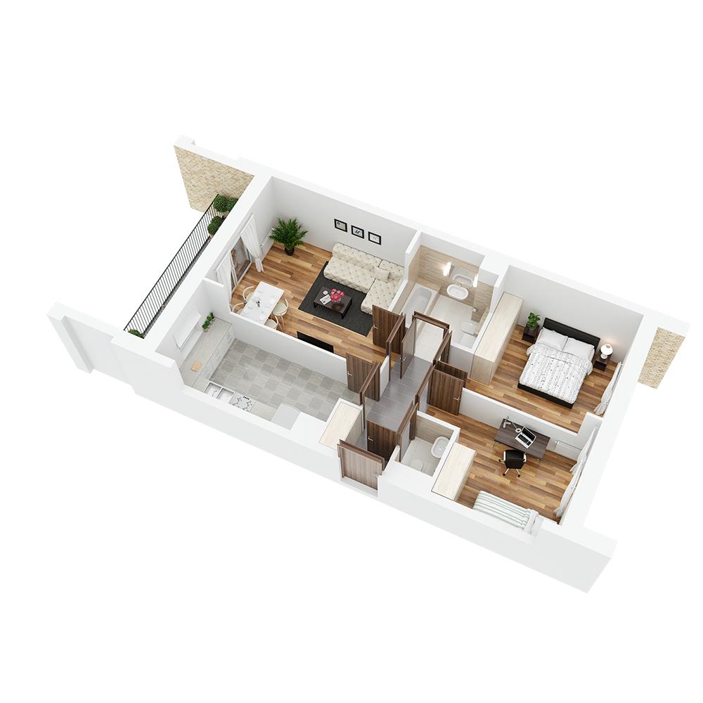 Mieszkanie 3-pokojowe PP-26-68