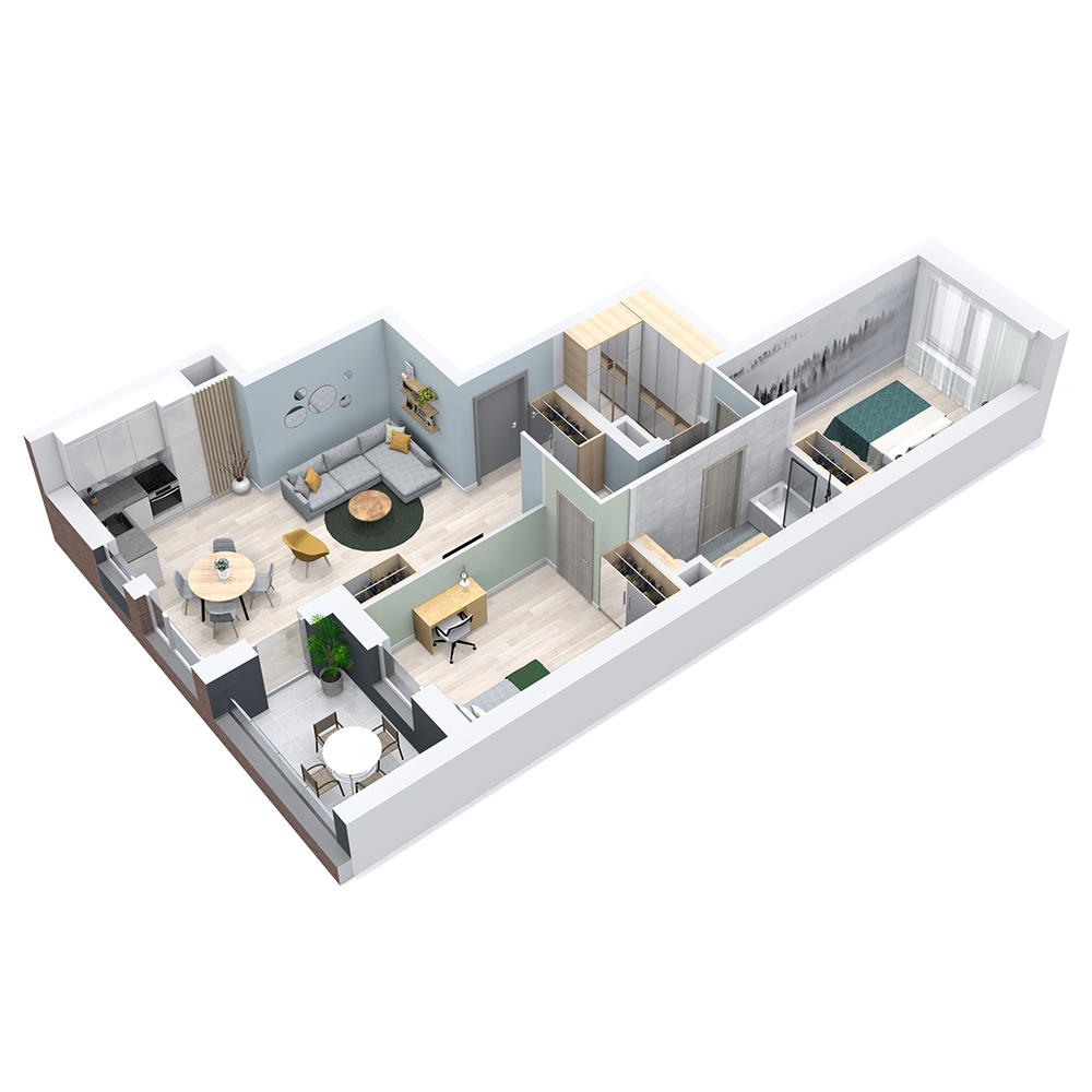 Mieszkanie 3-pokojowe PP-8C-80