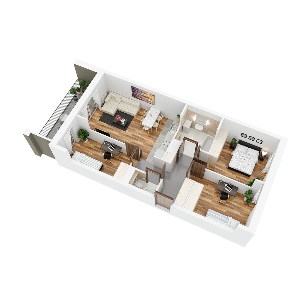 Mieszkanie 4-pokojowe PP-24-100