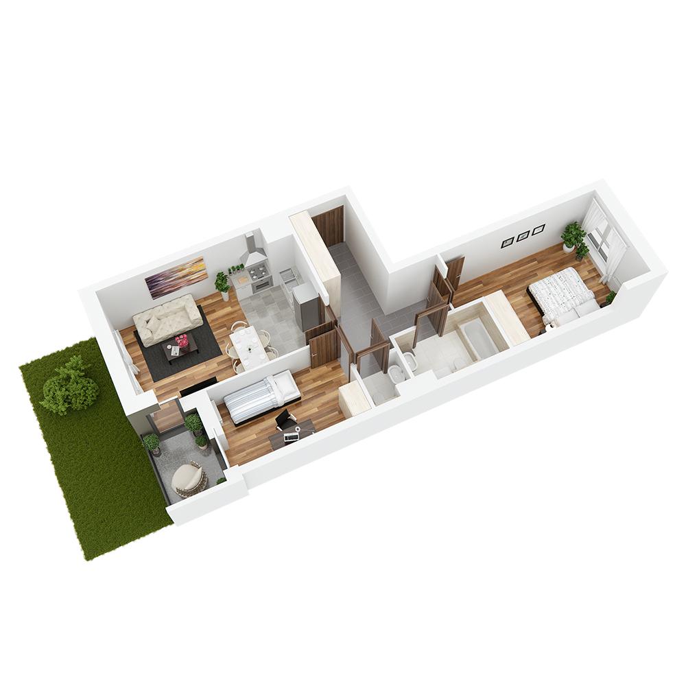 Mieszkanie 3-pokojowe PP-26-28