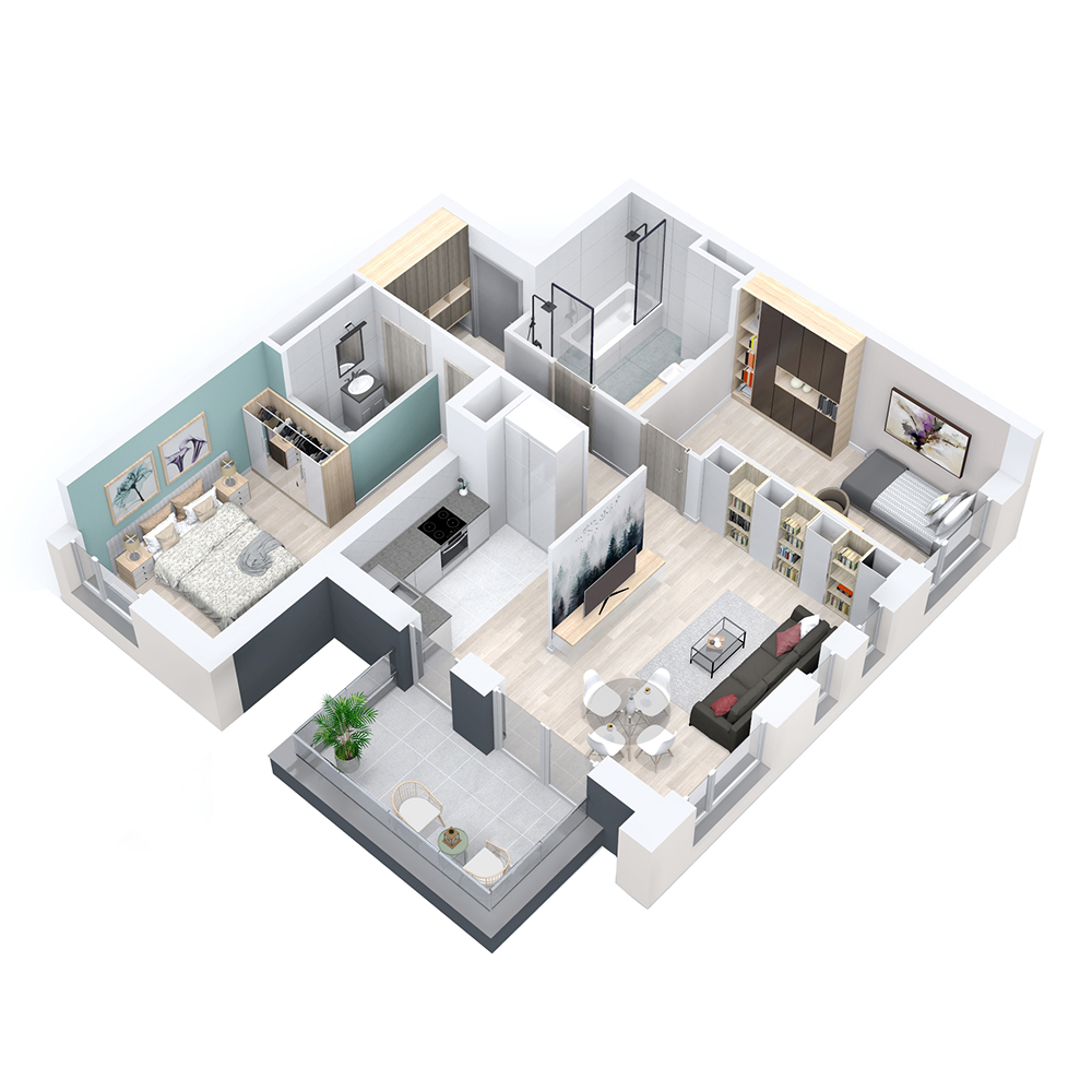 Mieszkanie 3-pokojowe PP-8D-44