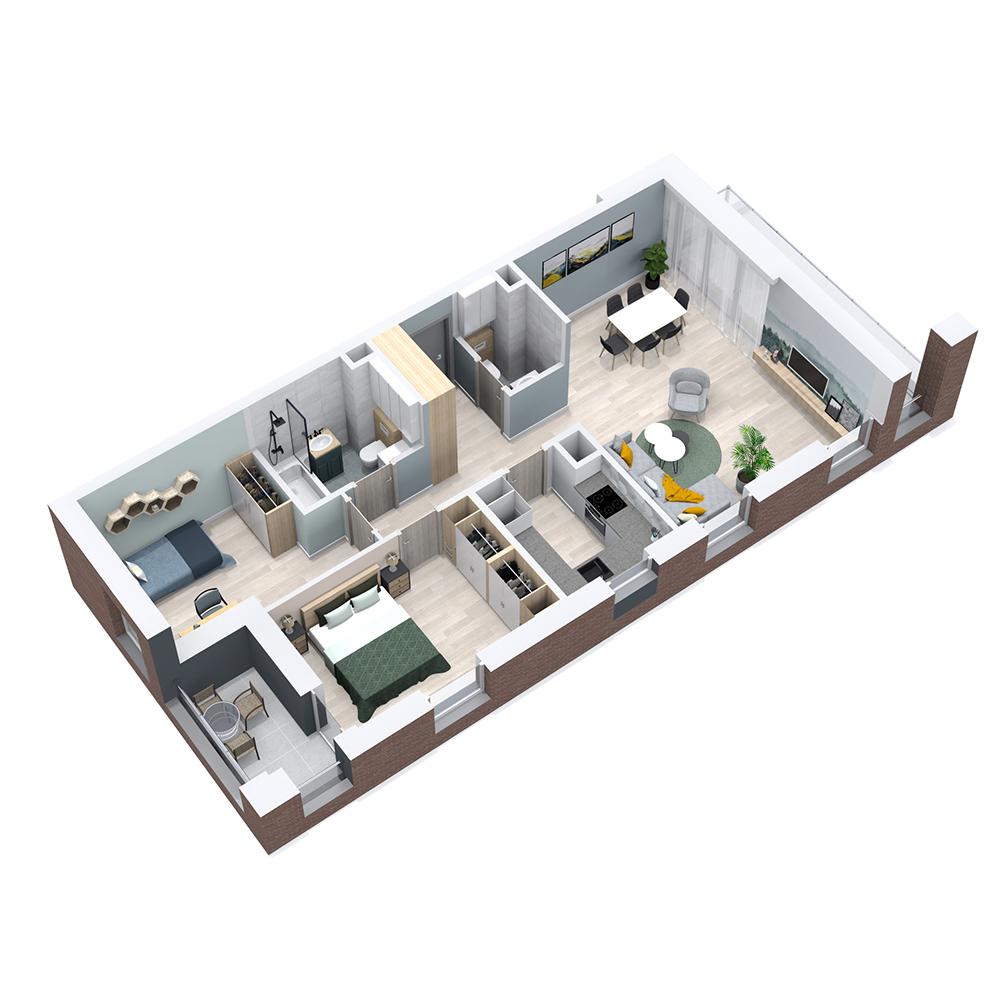 Mieszkanie 3-pokojowe PP-8C-90