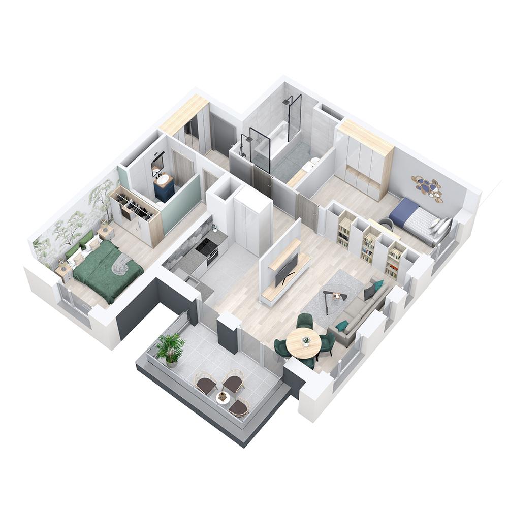 Mieszkanie 3-pokojowe PP-8D-59