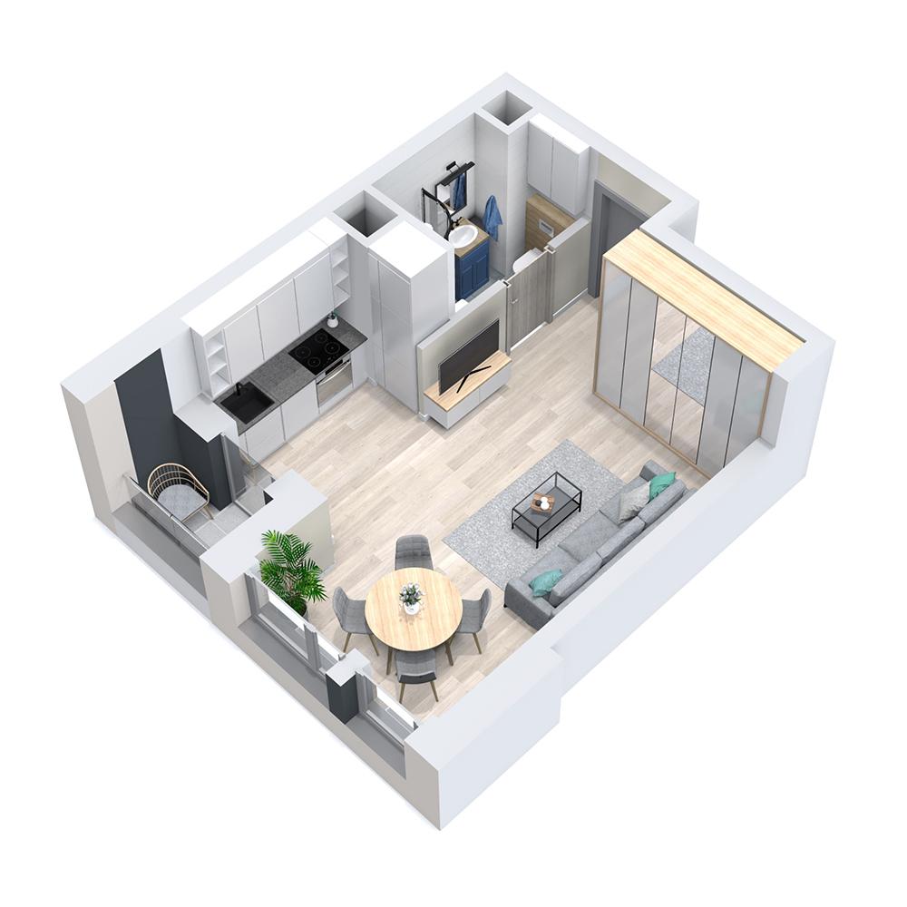 Mieszkanie 1-pokojowe PP-8D-41
