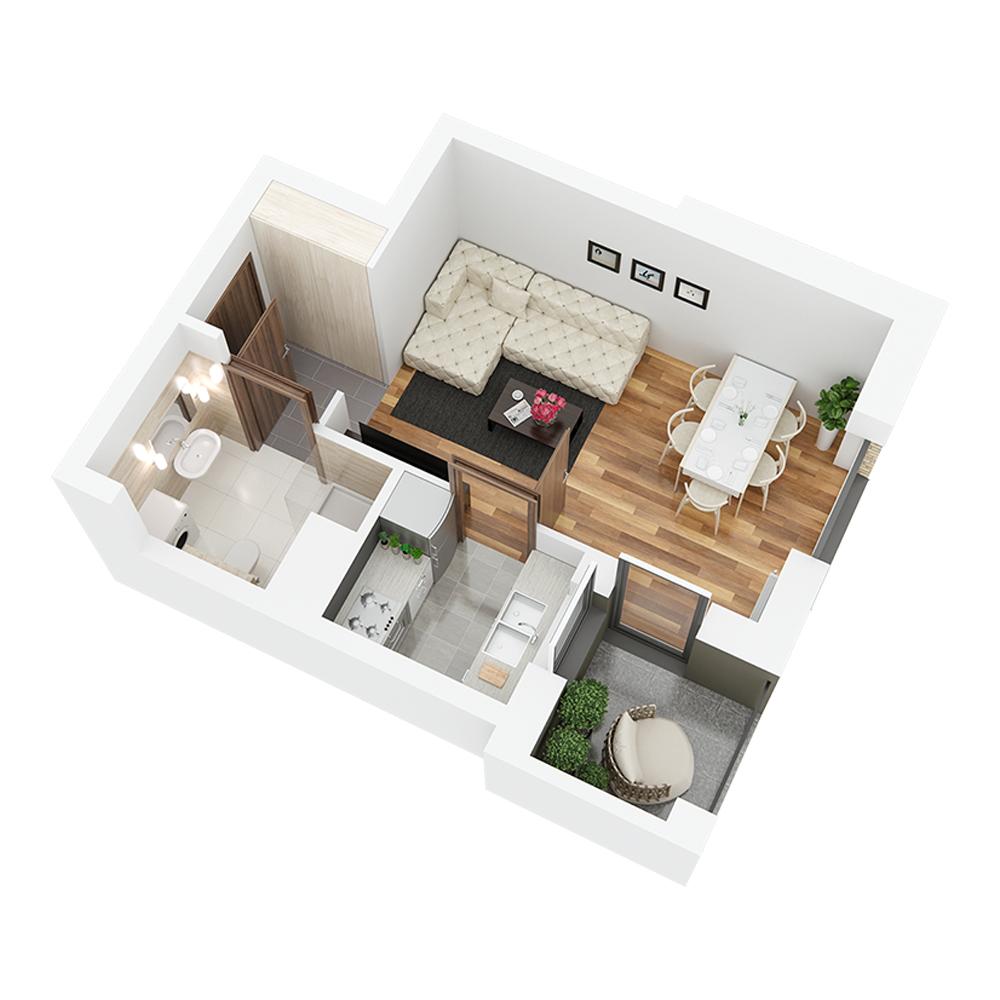 Mieszkanie 1-pokojowe PP-26-42