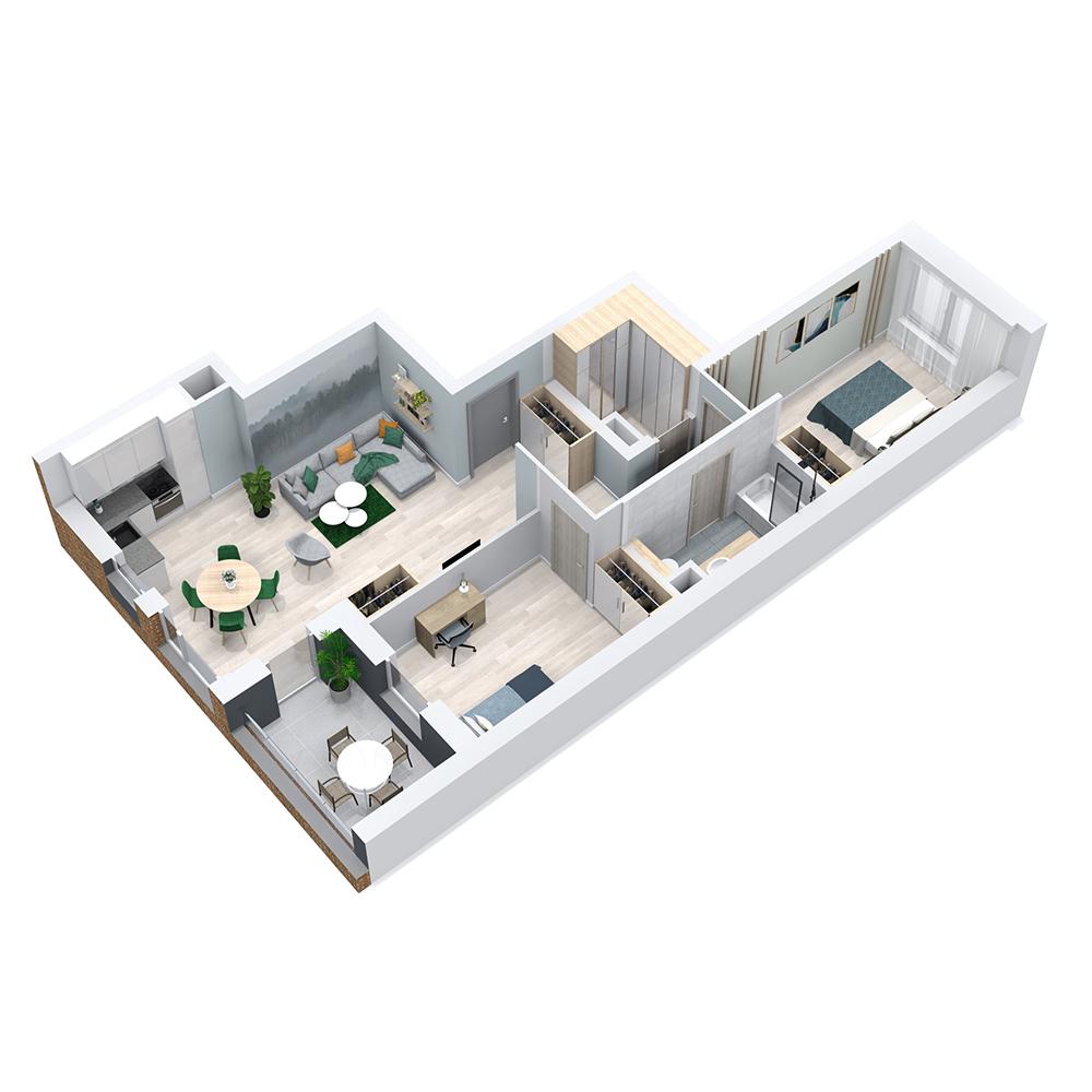 Mieszkanie 3-pokojowe PP-8C-62