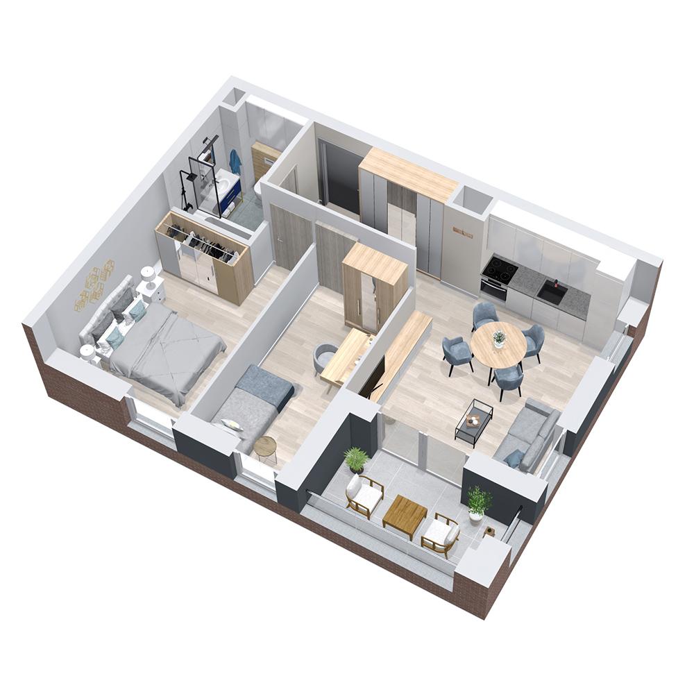Mieszkanie 3-pokojowe PP-8B-22