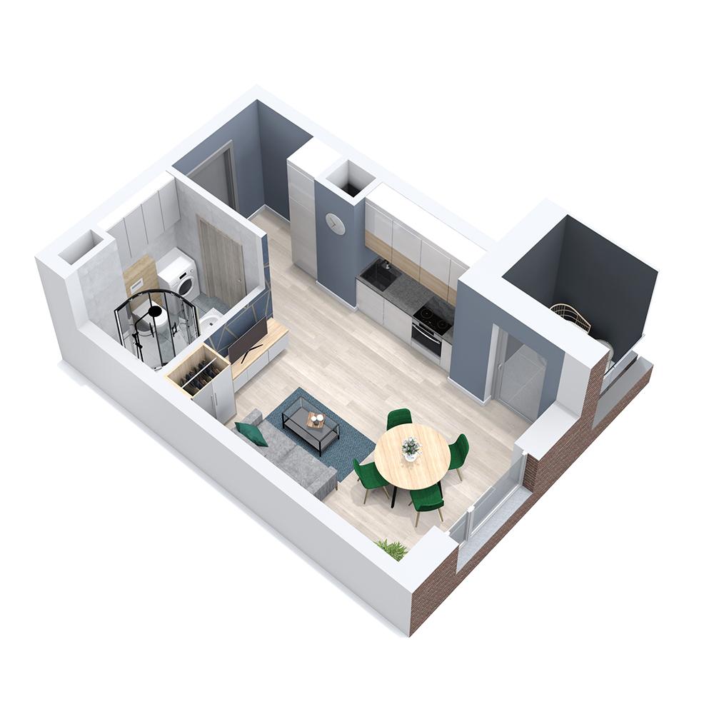 Mieszkanie 1-pokojowe PP-8C-83