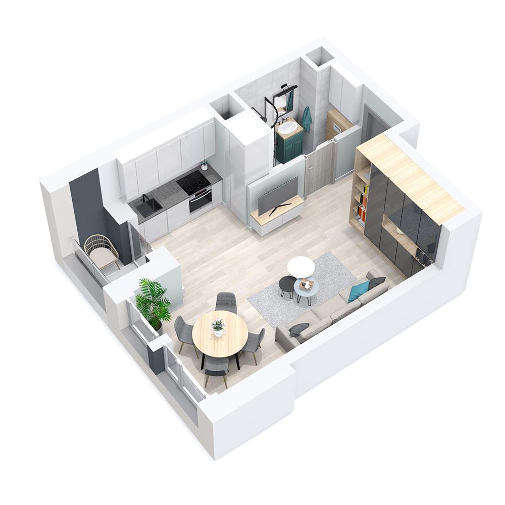 Mieszkanie 1-pokojowe PP-8D-7