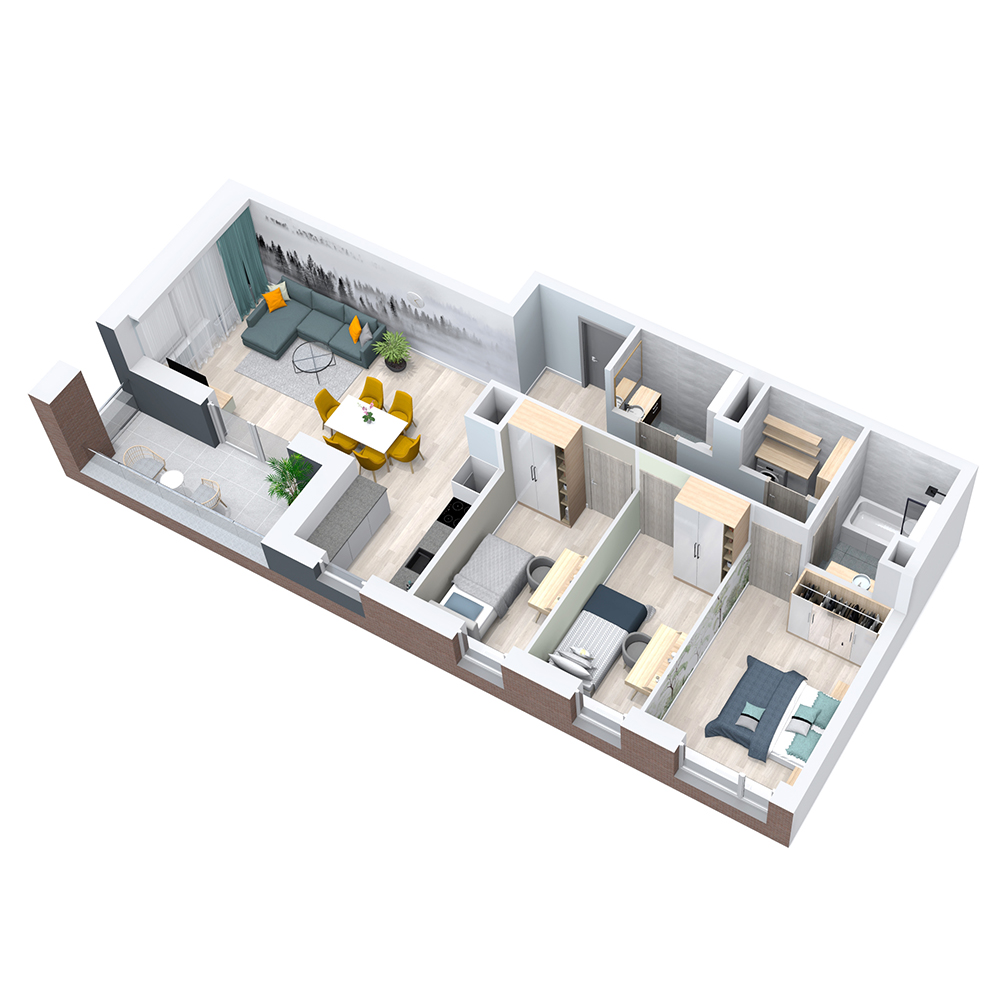 Mieszkanie 4-pokojowe PP-8C-52