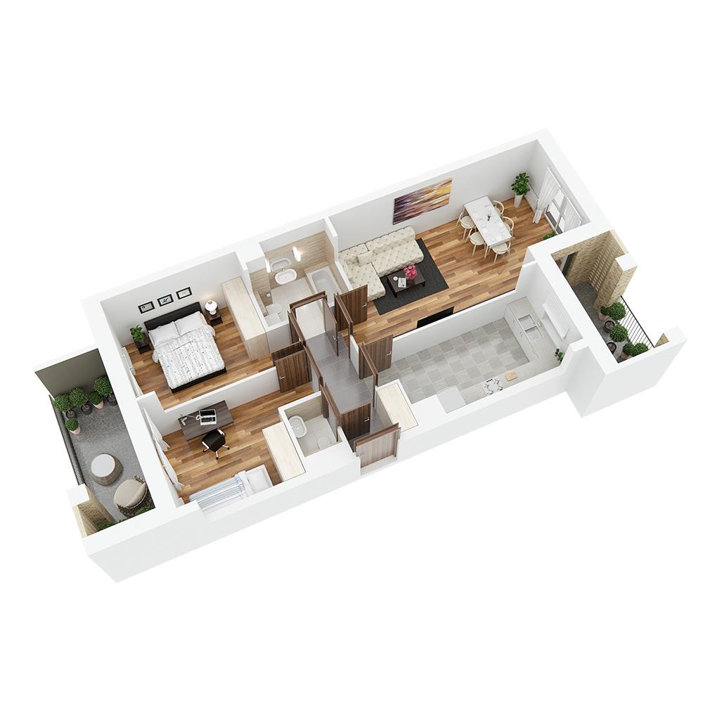Mieszkanie 3-pokojowe PP-26-69