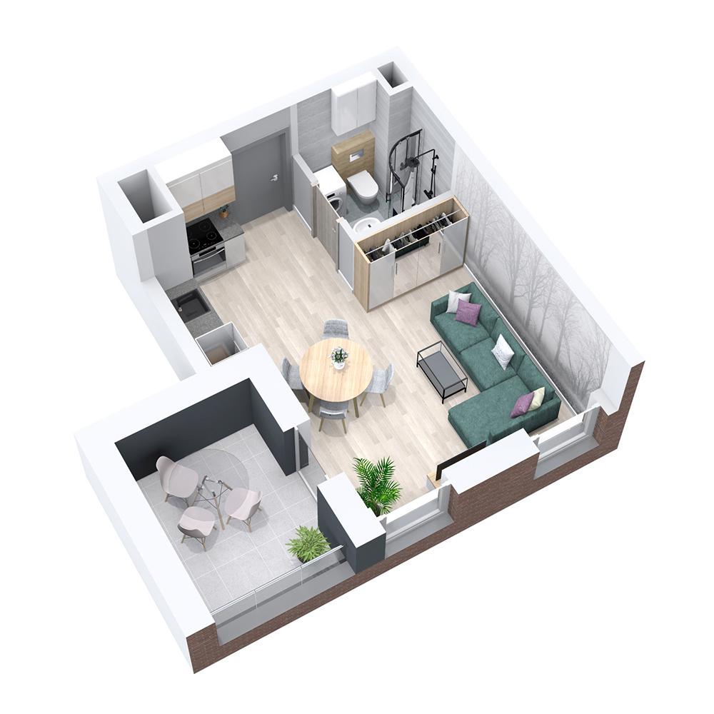 Mieszkanie 1-pokojowe PP-8B-38