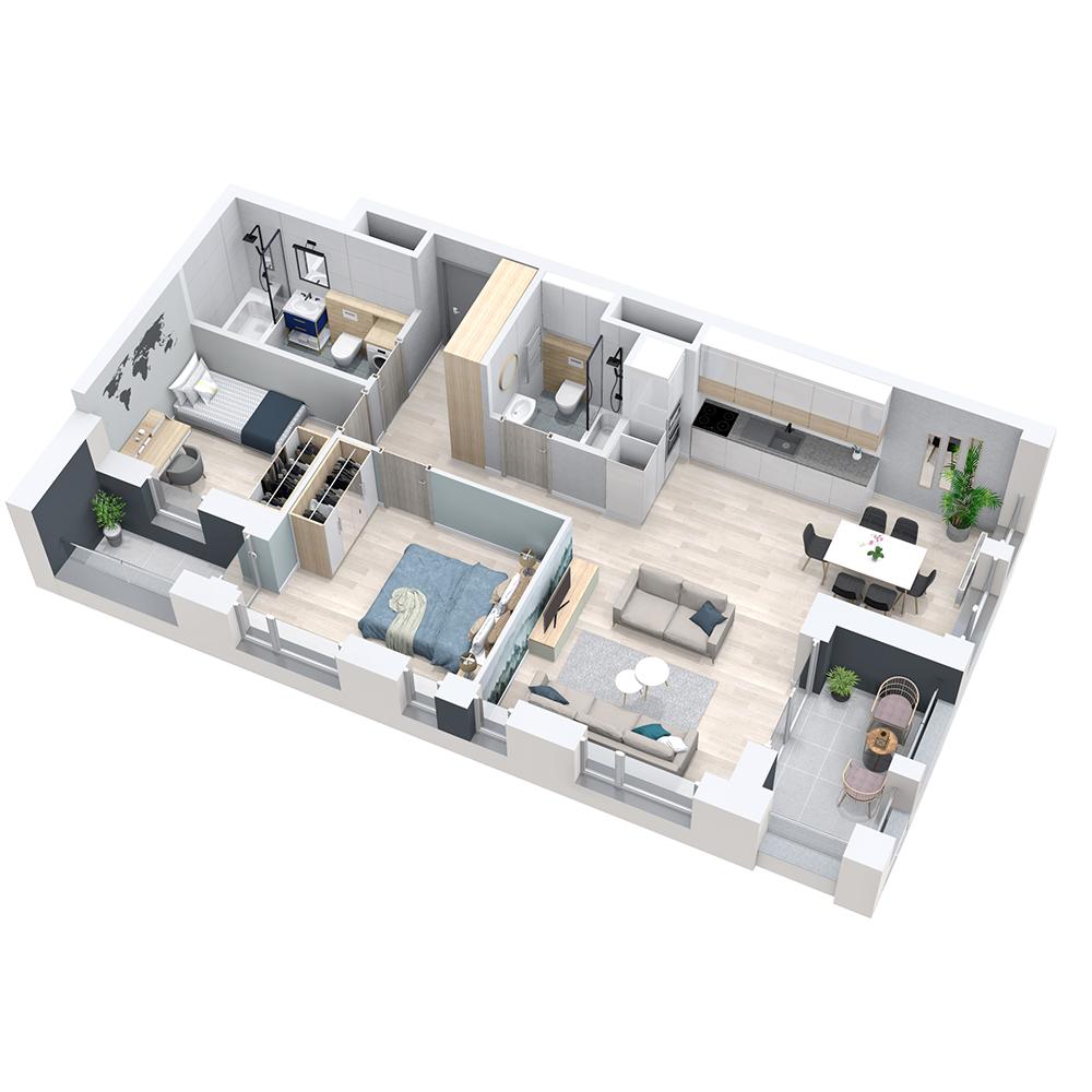 Mieszkanie 3-pokojowe PP-8D-15