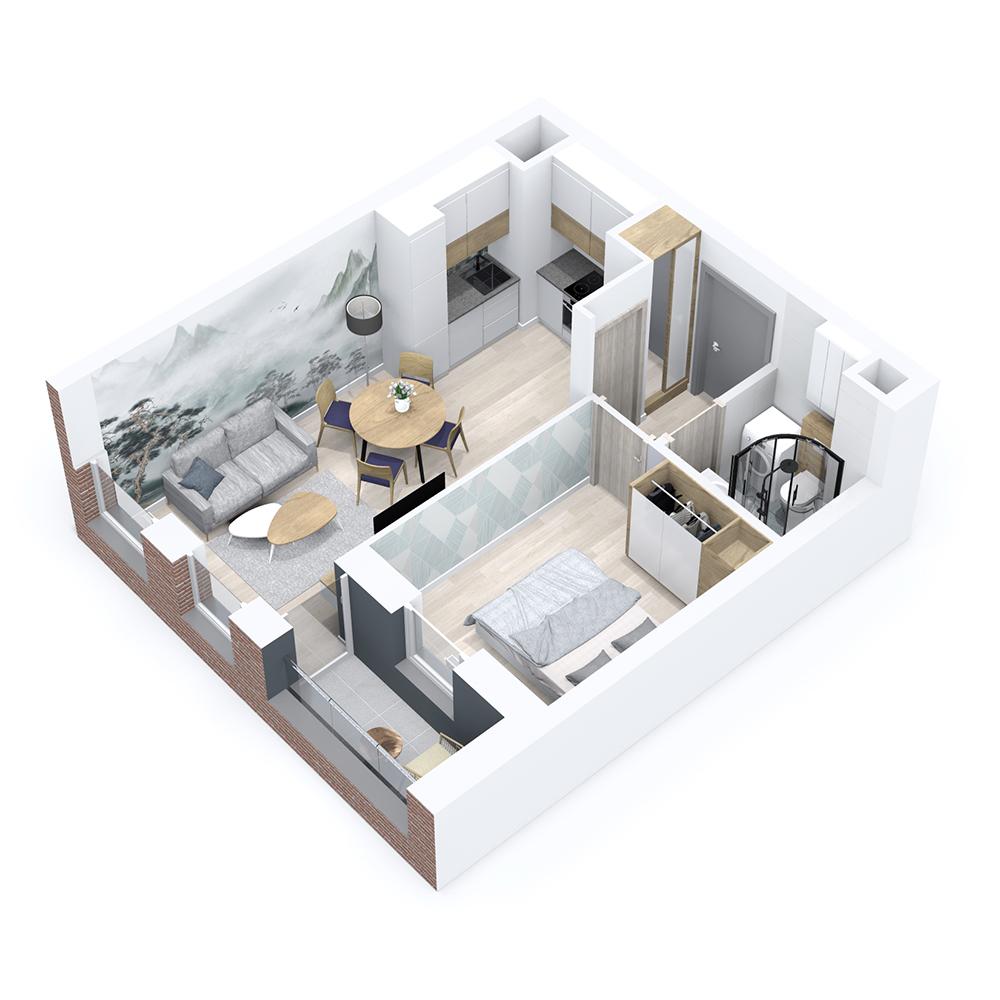 Mieszkanie 2-pokojowe PP-8B-68