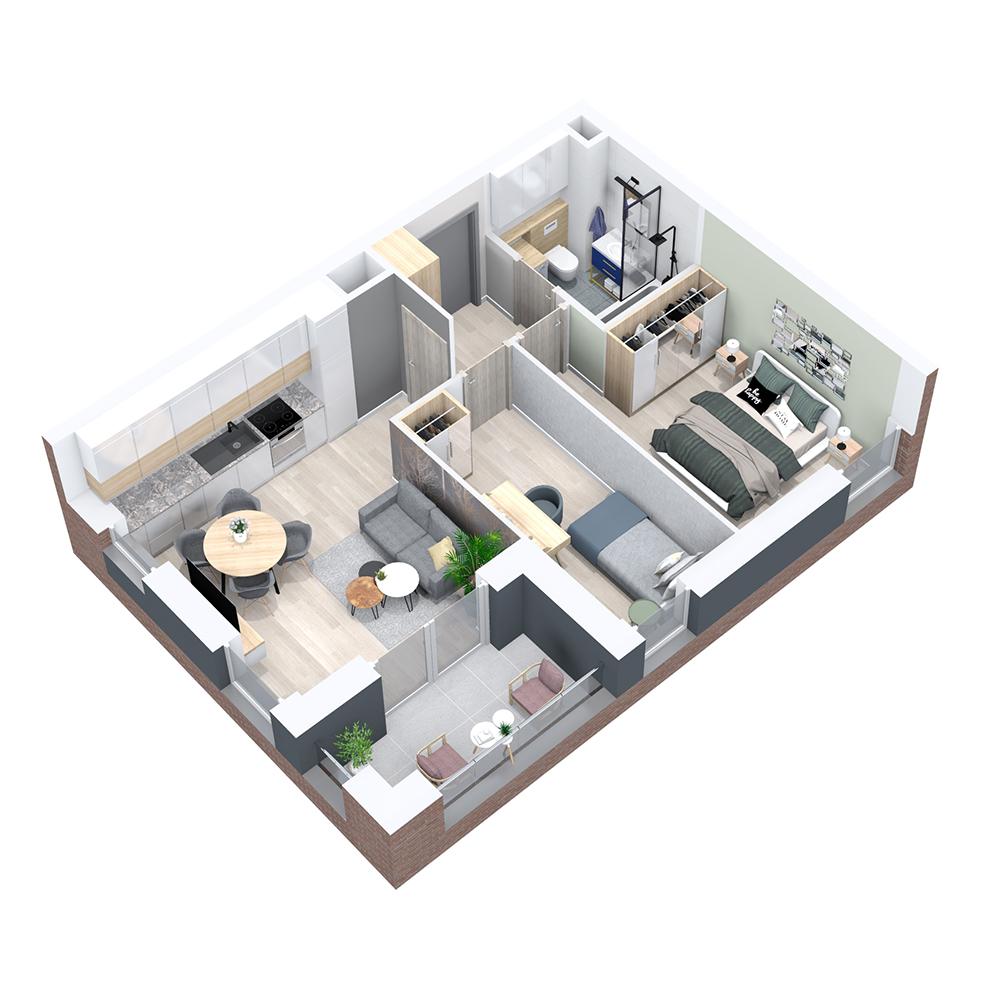 Mieszkanie 3-pokojowe PP-8B-66