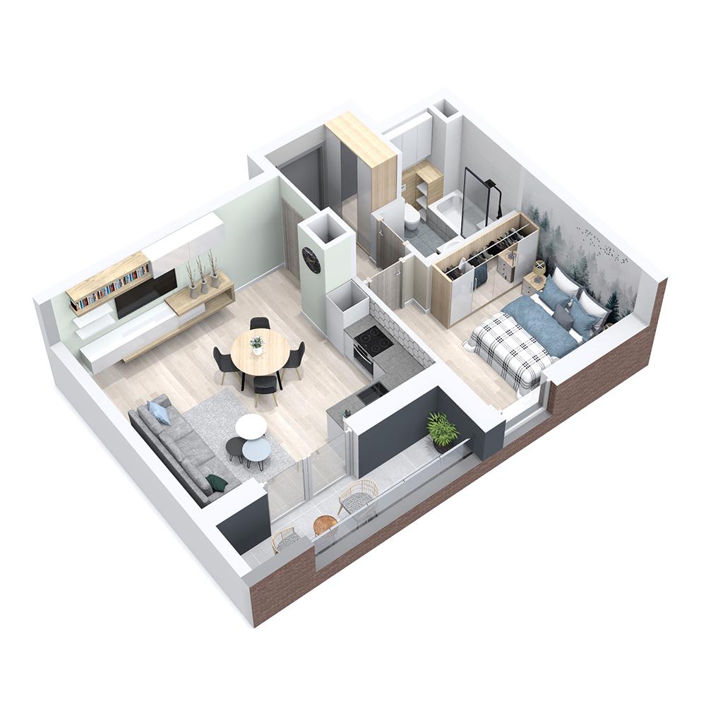 Mieszkanie 2-pokojowe PP-8B-77