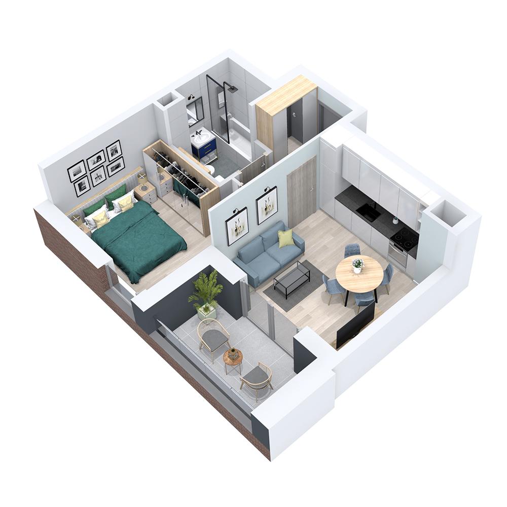 Mieszkanie 2-pokojowe PP-8B-14