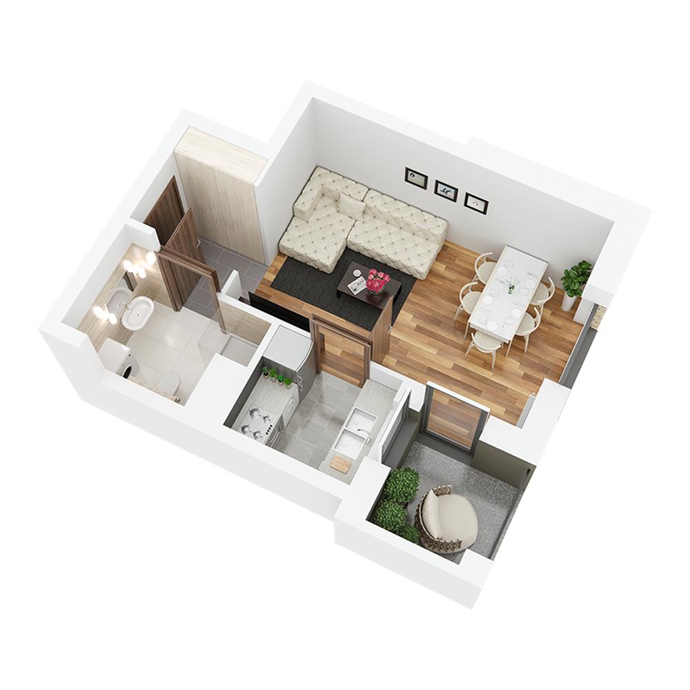 Mieszkanie 1-pokojowe PP-26-38