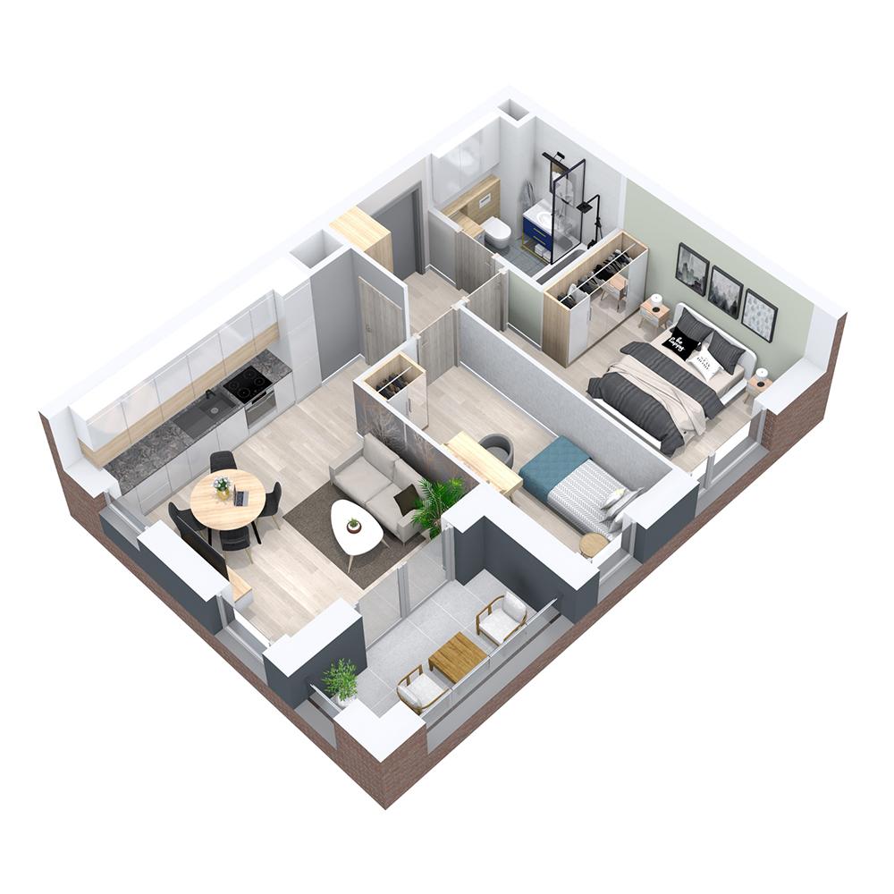 Mieszkanie 3-pokojowe PP-8B-52