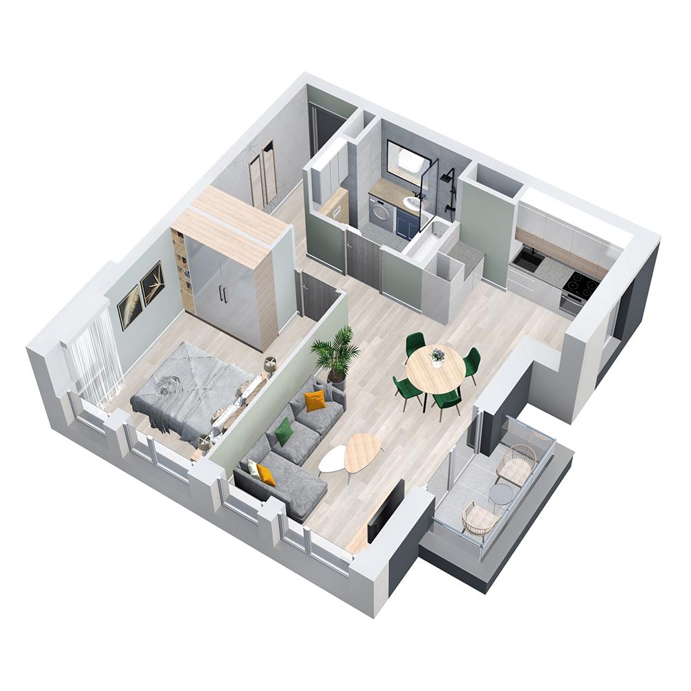 Mieszkanie 2-pokojowe PP-8D-13