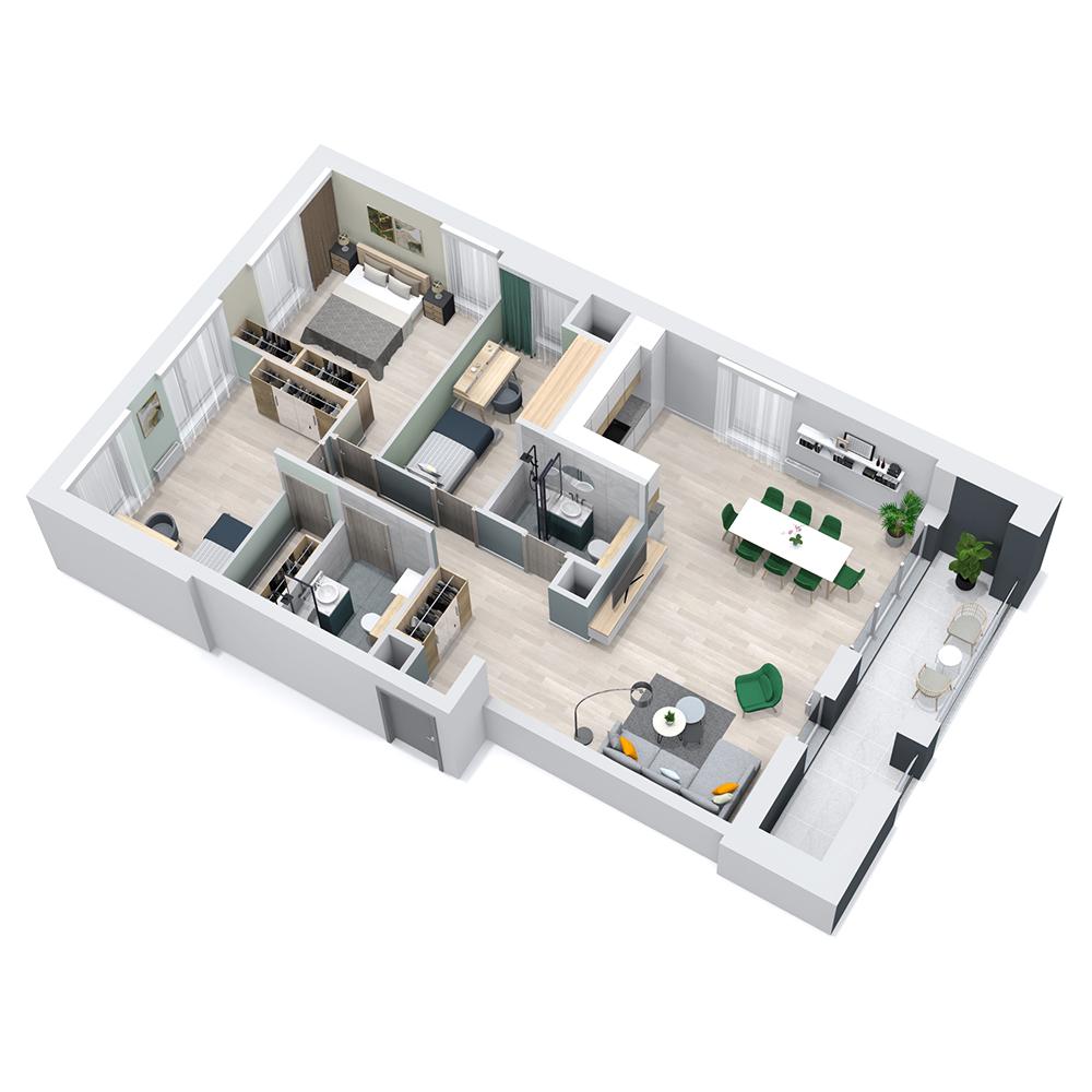 Mieszkanie 4-pokojowe PP-8C-28