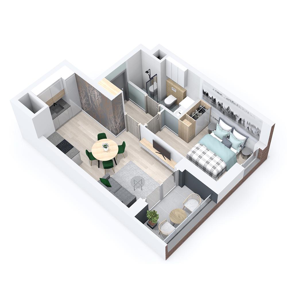 Mieszkanie 2-pokojowe PP-8B-18
