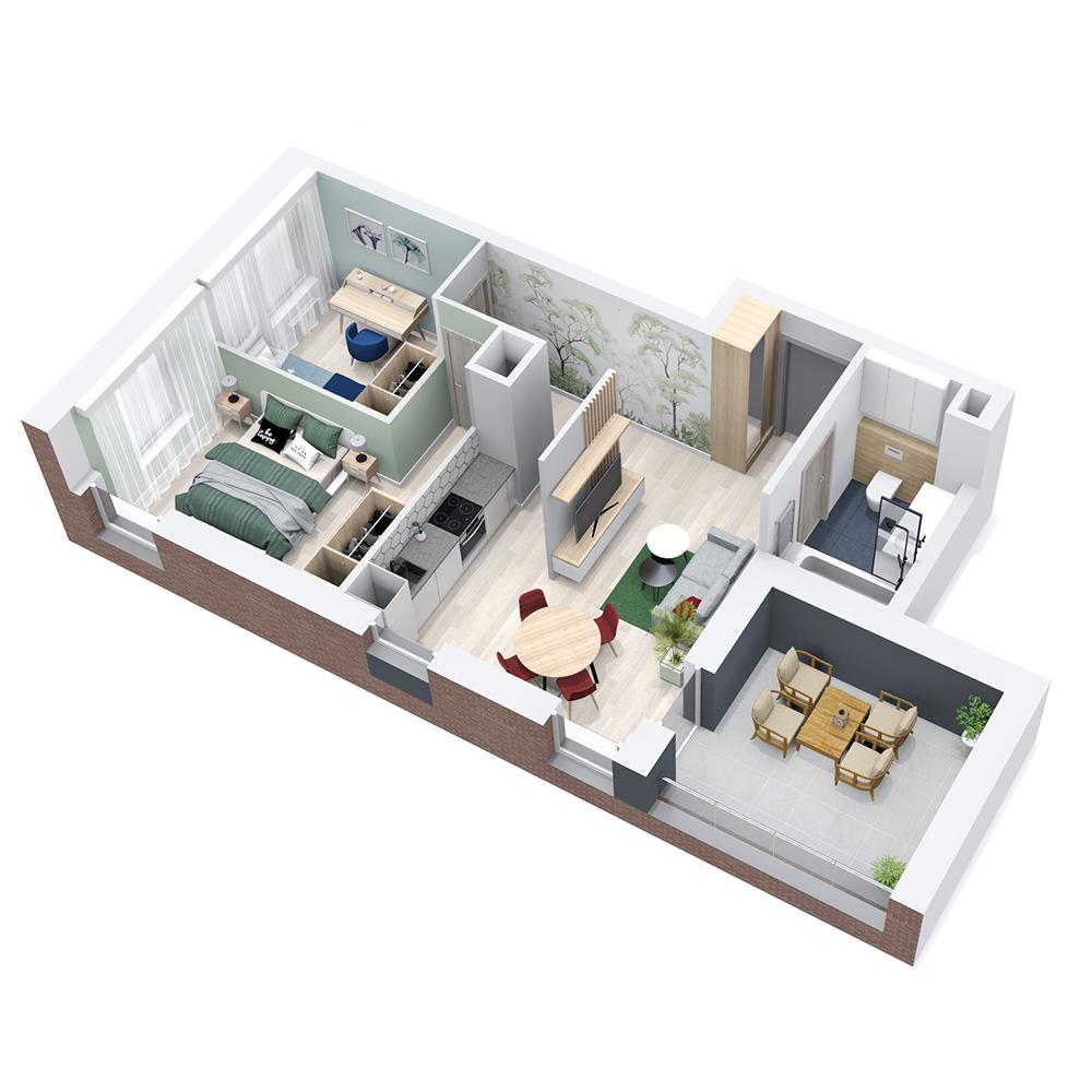 Mieszkanie 3-pokojowe PP-8B-70