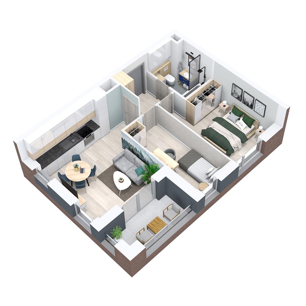 Mieszkanie 3-pokojowe PP-8B-61
