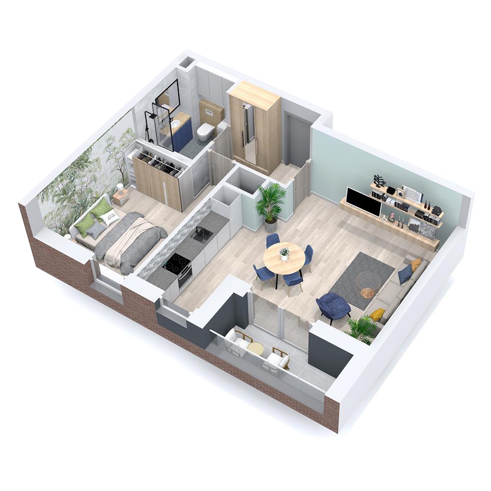 Mieszkanie 2-pokojowe PP-8C-60