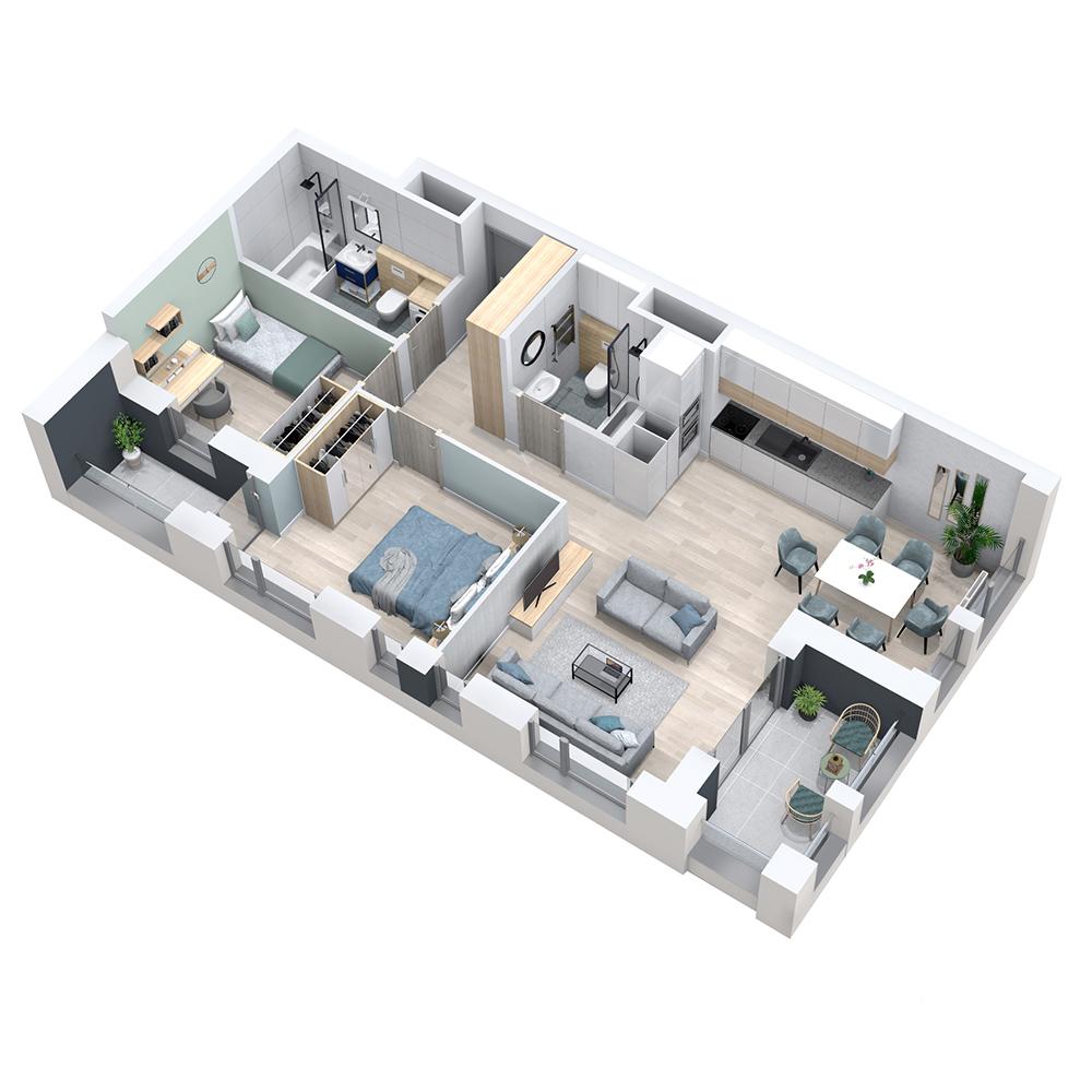 Mieszkanie 3-pokojowe PP-8D-2