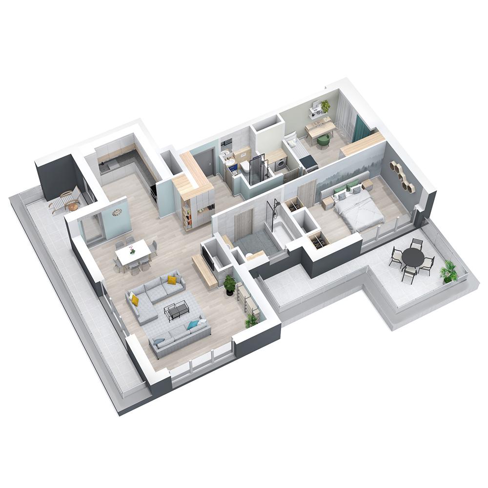Mieszkanie 3-pokojowe PP-8D-66