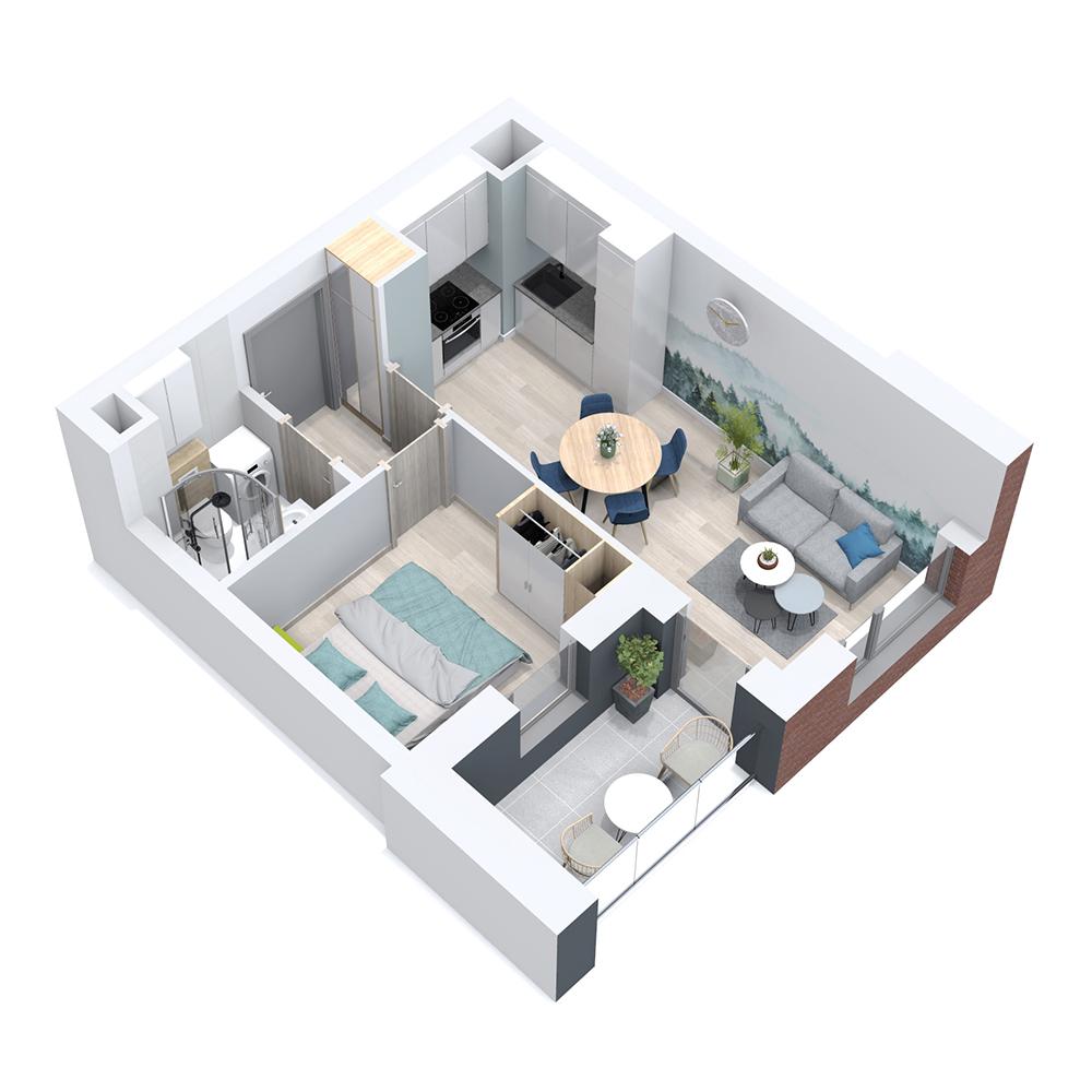 Mieszkanie 2-pokojowe PP-8B-13
