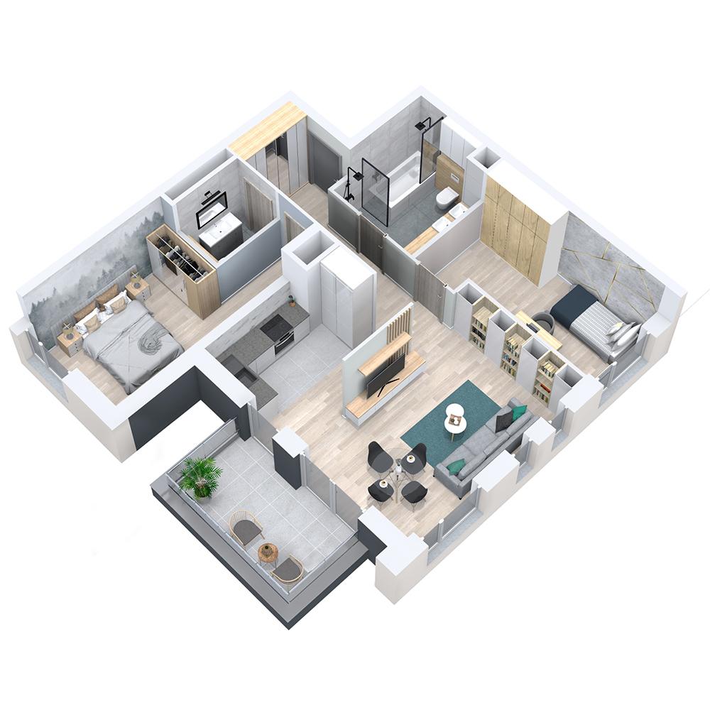 Mieszkanie 3-pokojowe PP-8D-14